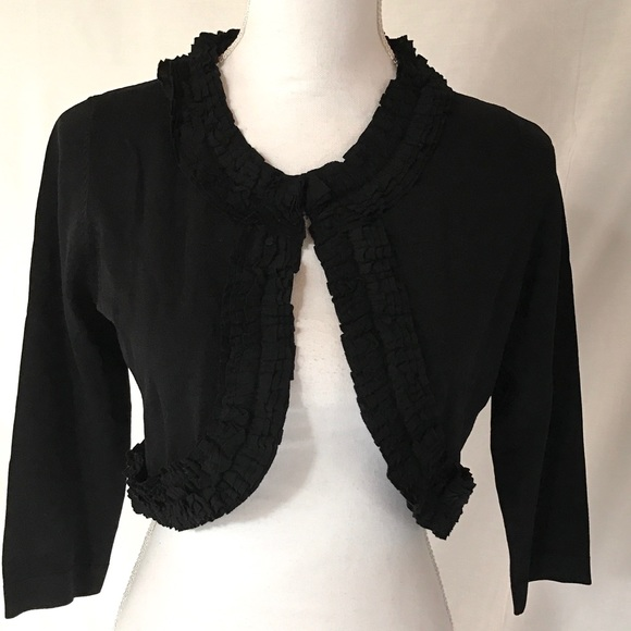 Collection By Dress Barn Sweaters Black Ruffled Dressy Knit